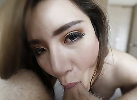 25 Year Old Shy Thai Ladyboy Sucks Off White Cock And Gets A Facial