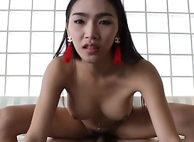 21 Year Old Thai Ladyboy Sits On His Cock Like A Cowgirl And Gets Fucked Hard