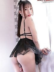 Ladyboy Kung Shows Off Her Sexy Body In Black Lingerie. Then She Starts Fingering Her Ass And Stroking Her Cock Util She Cums!