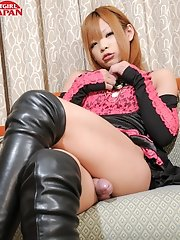 Japanese tgirl Sayaka Ayasaki is rocking it out in this hot solo scene. She loves to show off her petite body, nice tits and rock hard tgirl cock.