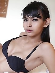 18yo slim ladyboy stripteases for her date with a tourist